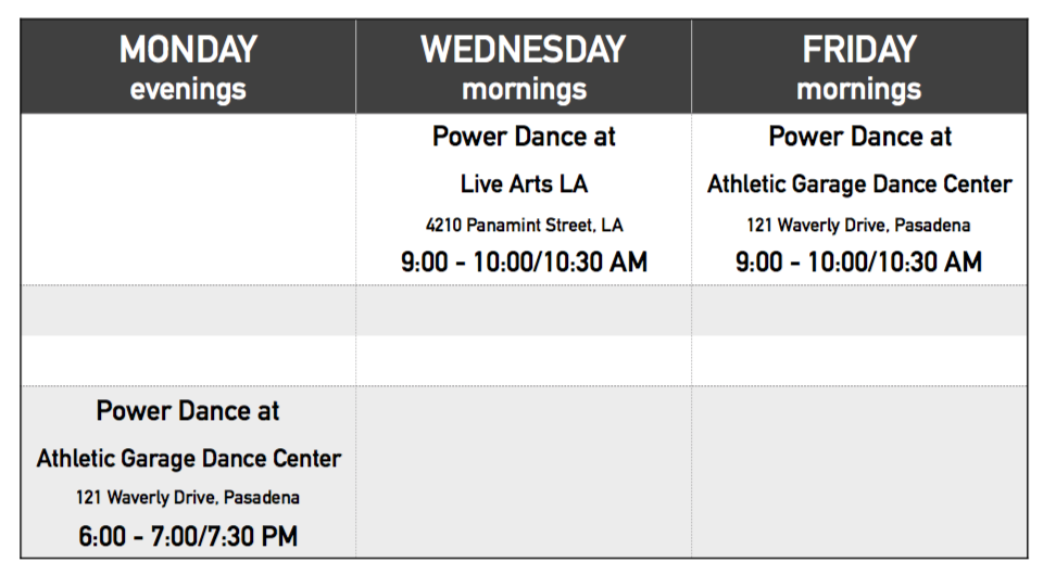 Power Dance Schedule 2016
