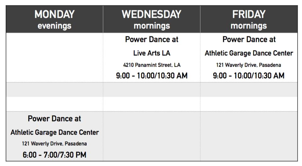 Power Dance Schedule 2016